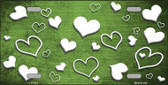 Lime Green White Love Print Oil Rubbed Metal Novelty License Plate