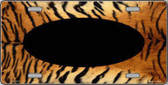 Pattern Tiger With Black Center Oval Metal Novelty License Plate