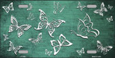 Mint White Butterfly Print Oil Rubbed Metal Novelty License Plate