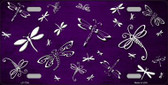 Purple White Dragonfly Print Oil Rubbed Metal Novelty License Plate