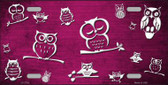 Pink White Owl Print Oil Rubbed Metal Novelty License Plate
