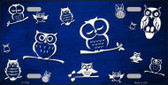 Blue White Owl Print Oil Rubbed Metal Novelty License Plate
