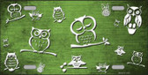 Lime Green White Owl Print Oil Rubbed Metal Novelty License Plate