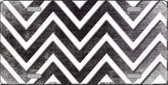Black White Chevron Oil Rubbed Metal Novelty License Plate