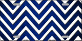 Blue White Chevron Oil Rubbed Metal Novelty License Plate