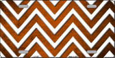 Orange White Chevron Oil Rubbed Metal Novelty License Plate