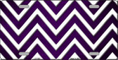 Purple White Chevron Oil Rubbed Metal Novelty License Plate
