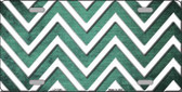 Mint White Chevron Oil Rubbed Metal Novelty License Plate