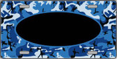 Pattern Blue Camo With Black Center Oval Metal Novelty License Plate