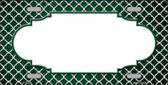 Green White Quatrefoil Scallop Print Oil Rubbed Metal Novelty License Plate