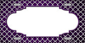 Purple White Quatrefoil Scallop Print Oil Rubbed Metal Novelty License Plate