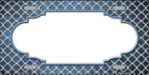 Light Blue White Quatrefoil Scallop Print Oil Rubbed Metal Novelty License Plate