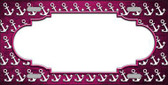 Pink White Anchor Scallop Print Oil Rubbed Metal Novelty License Plate