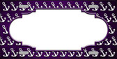 Purple White Anchor Scallop Print Oil Rubbed Metal Novelty License Plate