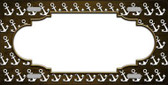 Brown White Anchor Scallop Print Oil Rubbed Metal Novelty License Plate