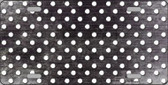 Black White Small Dots Print Oil Rubbed Metal Novelty License Plate
