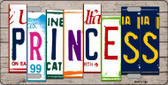 Princess License Plate Art Wood Pattern Metal Novelty License Plate