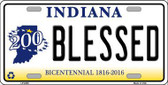Blessed Indiana Novelty Metal License Plate