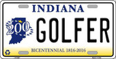 Golfer Indiana Novelty Metal License Plate