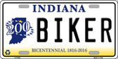 Biker Indiana Novelty Metal License Plate