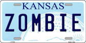 Zombie Kansas Novelty Metal License Plate