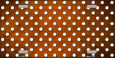 Orange White Small Dots Print Oil Rubbed Metal Novelty License Plate