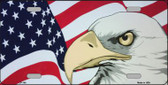 American Flag With Eagle Metal Novelty License Plate