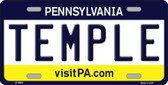 Temple Pennsylvania State Background Novelty Metal License Plate