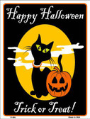 Happy Halloween Black Cat Metal Novelty Parking Sign