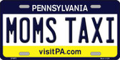 Moms Taxi Pennsylvania State Background Novelty Metal License Plate