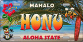 Honu Hawaii State Background Novelty Metal License Plate