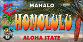 Honolulu Hawaii State Background Novelty Metal License Plate