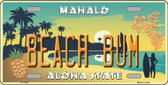 Beach Bum Hawaii Pineapple Background Novelty Metal License Plate