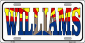 Williams Arizona Flag White Background Metal Novelty License Plate