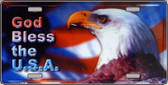 God Bless USA Eagle Metal Novelty License Plate