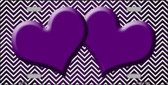 Purple White Small Chevron Hearts Print Oil Rubbed Metal Novelty License Plate