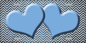 Light Blue White Small Chevron Hearts Print Oil Rubbed Metal Novelty License Plate