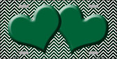 Green White Small Chevron Hearts Print Oil Rubbed Metal Novelty License Plate