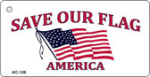 Save Our Flag Mini License Plate Metal Novelty Key Chain