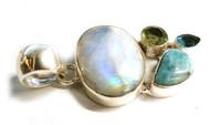 Moonstone, Larimar, Amethyst, Blue Topaz MULTISTONE CONDUCTIVE Silver Pendants