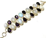 Moonstone Over Amethyst CONDUCTIVE Silver Bracelet