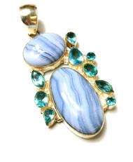 Blue Lace Agate & Blue Topaz MULTISTONE CONDUCTIVE Silver Pendant