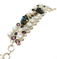 Moonstone & Mystic Topaz CONDUCTIVE Silver Bracelet