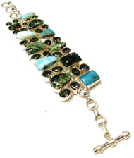 Larimar, Seraphinite, & Mystic Topaz CONDUCTIVE Silver Bracelet