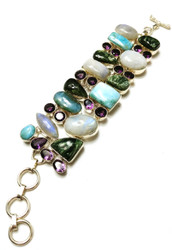 Seraphinite, Amethyst, Moonstone & Larimar CONDUCTIVE Silver Bracelet *SOLD OUT*