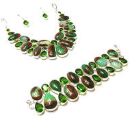 Russian Chrysoprase FANCY GEMSTONE SETS- THERAPY JEWELRY