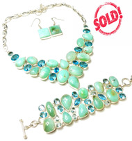 Irish Chalcedony, Green Amethyst, & Blue Crystal FANCY GEMSTONE SETS- THERAPY JEWELRY *SOLD OUT*