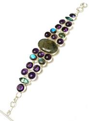 Labradorite, Amethyst, & Green Amethyst CONDUCTIVE Silver Bracelet