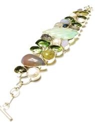 Rose Quartz, Smokey Quartz, Pearl, Peridot, Sparkle Druzy, Green Amethyst and Jade CONDUCTIVE Silver Bracelet