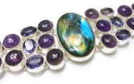 Labradorite, Amethyst, & Pearl CONDUCTIVE Silver Bracelet